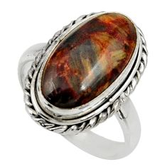 8.77cts natural pietersite (african) 925 silver solitaire ring size 8 r28190