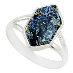5.55cts natural pietersite (african) 925 silver solitaire ring size 8 r80208