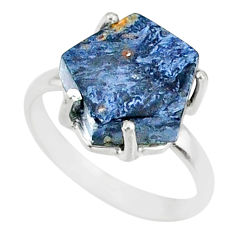 5.13cts natural pietersite (african) solitaire 925 silver ring size 6 r82029