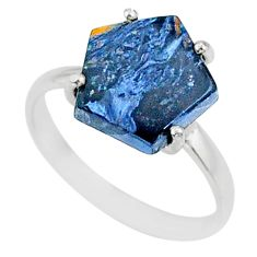 4.17cts natural pietersite (african) solitaire 925 silver ring size 7 r82037