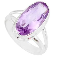 7.53cts natural pink amethyst 925 silver solitaire ring jewelry size 7 r84981