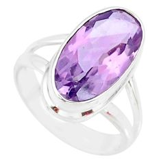 7.86cts natural pink amethyst 925 silver solitaire ring jewelry size 9 r84966