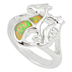 Natural pink australian opal (lab) topaz 925 silver ring jewelry size 6 c15788