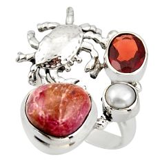 8.11cts natural pink bio tourmaline garnet 925 silver crab ring size 7.5 d46112
