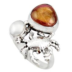 6.20cts natural pink bio tourmaline pearl 925 silver crab ring size 8 d46011