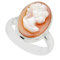 5.11cts natural pink cameo on shell 925 silver lady face ring size 7.5 r80472