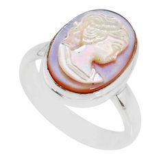 4.60cts natural pink cameo on shell 925 silver lady face ring size 6.5 r80479