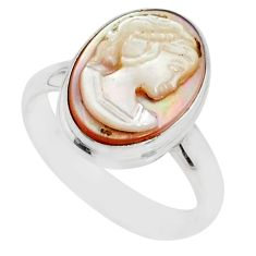 4.91cts natural pink cameo on shell 925 silver lady face ring size 7.5 r80480