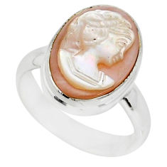 4.67cts natural pink cameo on shell 925 silver lady face ring size 6 r80450