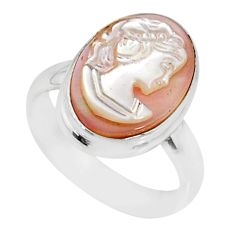 4.67cts natural pink cameo on shell 925 silver lady face ring size 6 r80477