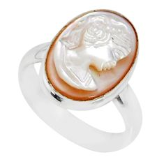 4.42cts natural pink cameo on shell 925 silver lady face ring size 7 r80494