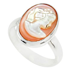 4.63cts natural pink cameo on shell 925 silver lady face ring size 7 r80499