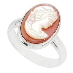 4.88cts natural pink cameo on shell 925 silver lady face ring size 8 r80498