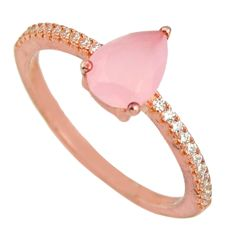 2.23cts natural pink chalcedony 925 silver 14k rose gold ring size 7 c10291