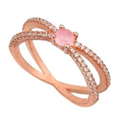 2.15cts natural pink chalcedony 925 silver 14k rose gold ring size 7 c10295