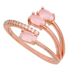 1.30cts natural pink chalcedony 925 silver 14k rose gold ring size 7 c10296