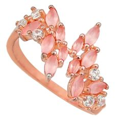 2.12cts natural pink chalcedony 925 silver 14k rose gold ring size 7 c10298