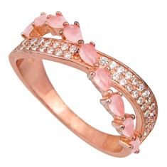 2.10cts natural pink chalcedony 925 silver 14k rose gold ring size 7 c10299
