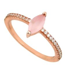 2.23cts natural pink chalcedony 925 silver 14k rose gold ring size 7 c26499