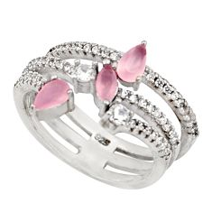 4.22cts natural pink chalcedony topaz quartz 925 silver ring size 6.5 c26496