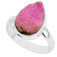 6.38cts natural pink cobalt calcite 925 silver solitaire ring size 7.5 r92910