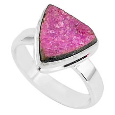 5.11cts natural pink cobalt calcite 925 silver solitaire ring size 7 r92905