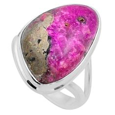 12.10cts natural pink cobalt calcite 925 sterling silver ring size 6 r66049