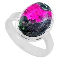6.58cts natural pink cobalt calcite 925 sterling silver ring size 8 r66047
