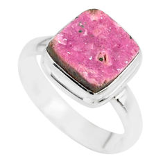 4.68cts natural pink cobalt calcite druzy 925 sterling silver ring size 7 r86027