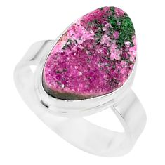 7.89cts natural pink cobalt calcite druzy 925 sterling silver ring size 8 r86036