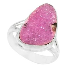 12.06cts natural pink cobalt calcite druzy sterling silver ring size 8.5 r86037