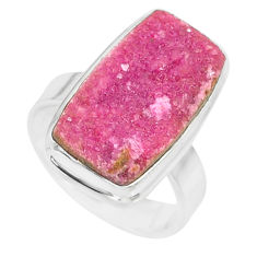 10.49cts natural pink cobalt calcite druzy sterling silver ring size 7 r86071