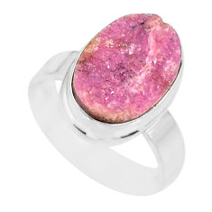 6.54cts natural pink cobalt calcite druzy sterling silver ring size 7 r86080
