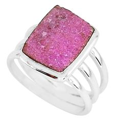 6.31cts natural pink cobalt druzy 925 silver solitaire ring size 7.5 r92882