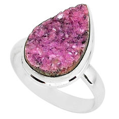 9.29cts natural pink cobalt druzy 925 silver solitaire ring size 8.5 r92886
