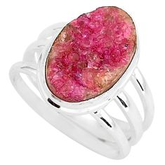 7.66cts natural pink cobalt druzy 925 silver solitaire ring size 8.5 r92887