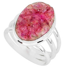 10.02cts natural pink cobalt druzy 925 silver solitaire ring size 7.5 r92890
