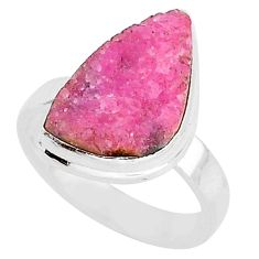 8.49cts natural pink cobalt druzy 925 silver solitaire ring size 7 r92881