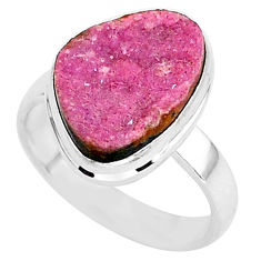 8.28cts natural pink cobalt druzy 925 silver solitaire ring size 8 r92891