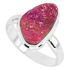 6.70cts natural pink cobalt druzy 925 silver solitaire ring size 9 r92883