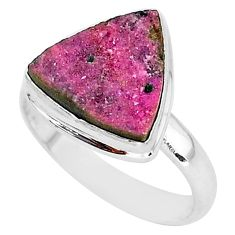 7.85cts natural pink cobalt druzy 925 silver solitaire ring size 9 r92898