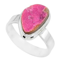 4.90cts natural pink cobalt druzy 925 sterling silver ring size 7 r86070