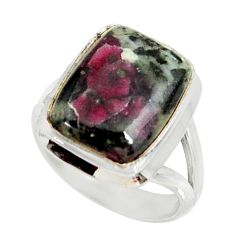 6.82cts natural pink eudialyte 925 silver solitaire ring jewelry size 6.5 r28091