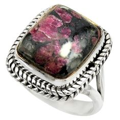7.94cts natural pink eudialyte 925 silver solitaire ring jewelry size 6.5 r28680