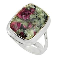 10.70cts natural pink eudialyte 925 silver solitaire ring jewelry size 7 r26485