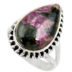 10.61cts natural pink eudialyte 925 silver solitaire ring jewelry size 7 r28082