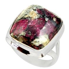 16.17cts natural pink eudialyte 925 silver solitaire ring jewelry size 7 r28083