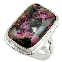 16.76cts natural pink eudialyte 925 silver solitaire ring jewelry size 7 r28650