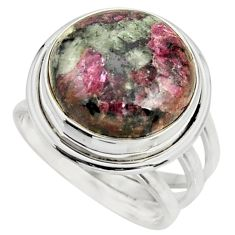 15.24cts natural pink eudialyte 925 silver solitaire ring jewelry size 8 r26473