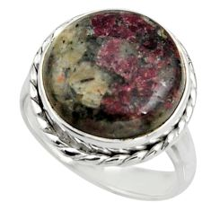 13.71cts natural pink eudialyte 925 silver solitaire ring jewelry size 8 r26482